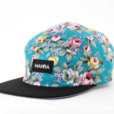 MAHFIA FIve Panel Hat   Aqua Floral